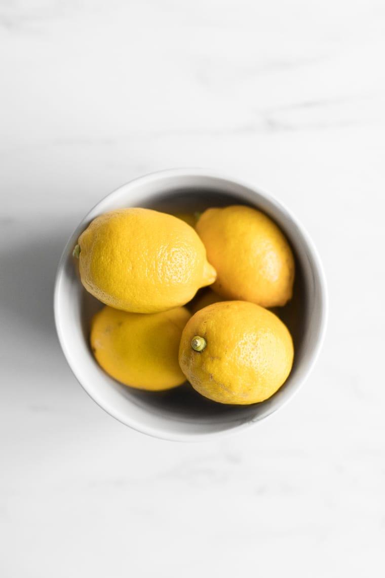 Lemons in a bowl overhead