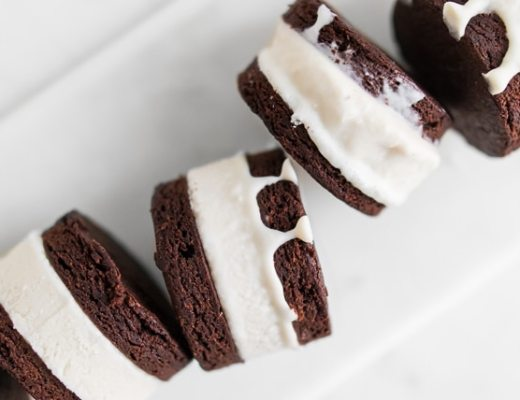 Close up of homemade ice cream sandwiches on their side