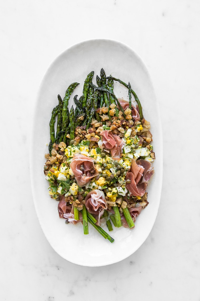Platter of Polonaise Asparagus Salad with Prosciutto