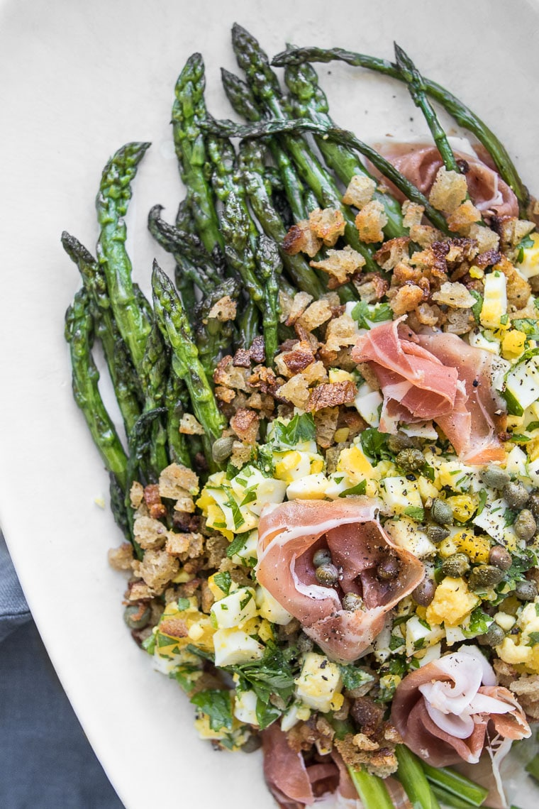 Polonaise Salad with Asparagus and Prosciutto