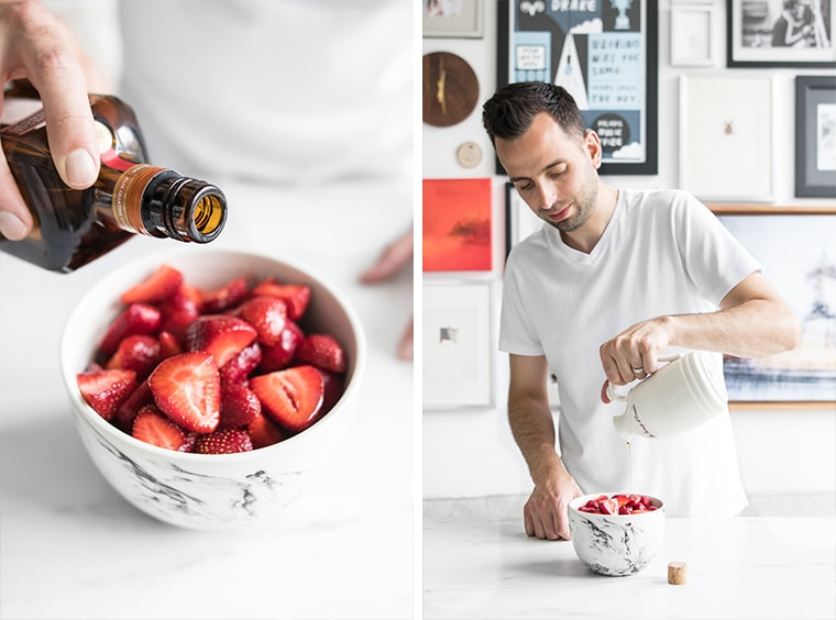 Pouring Orange Liqueur and Maple Syrup on Sliced Strawberries