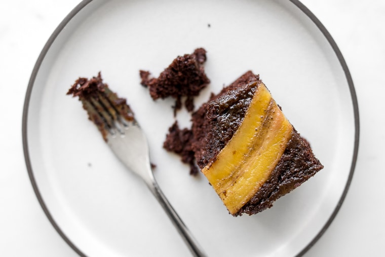 Square of upside down chocolate banana cake