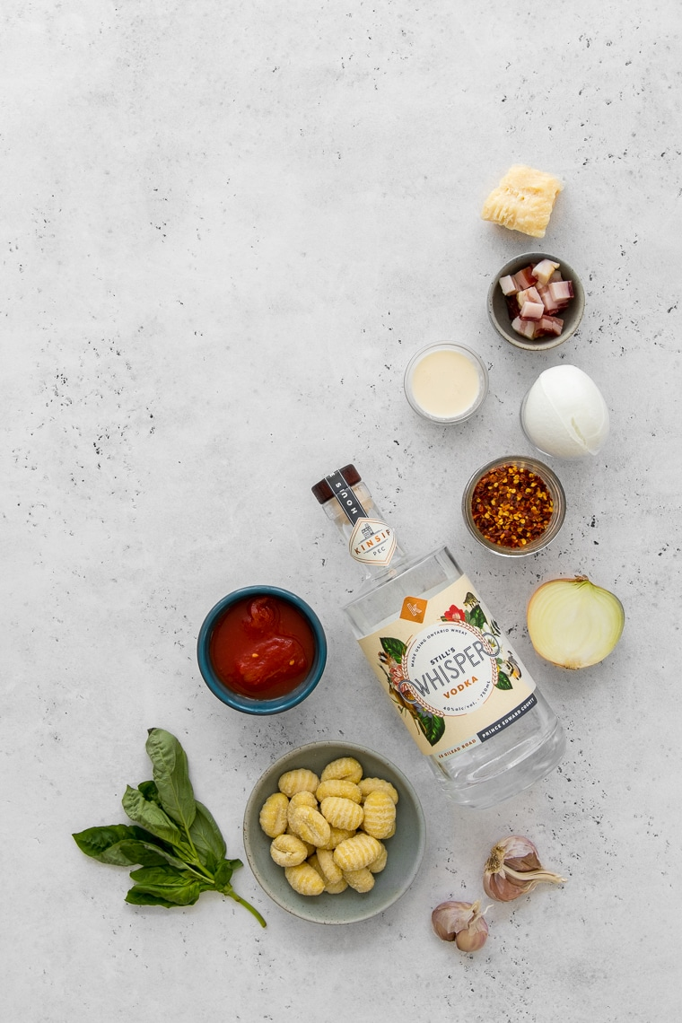 Ingredients for baked gnocchi with vodka sauce