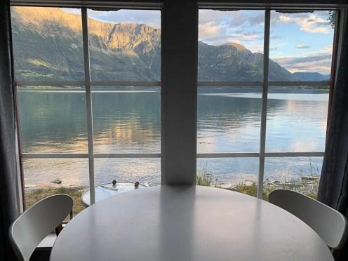 vista sul fiordo al Dalsøren camping