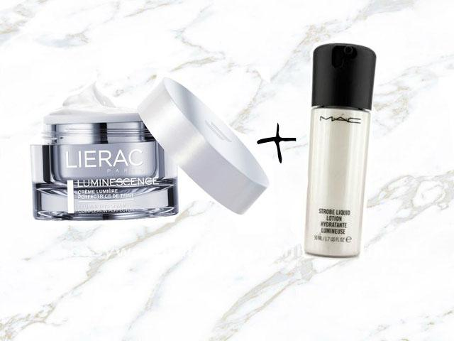 lierac luminescence and mac strobe liquid lotion