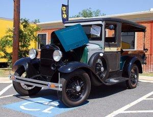 Black vintage car parked