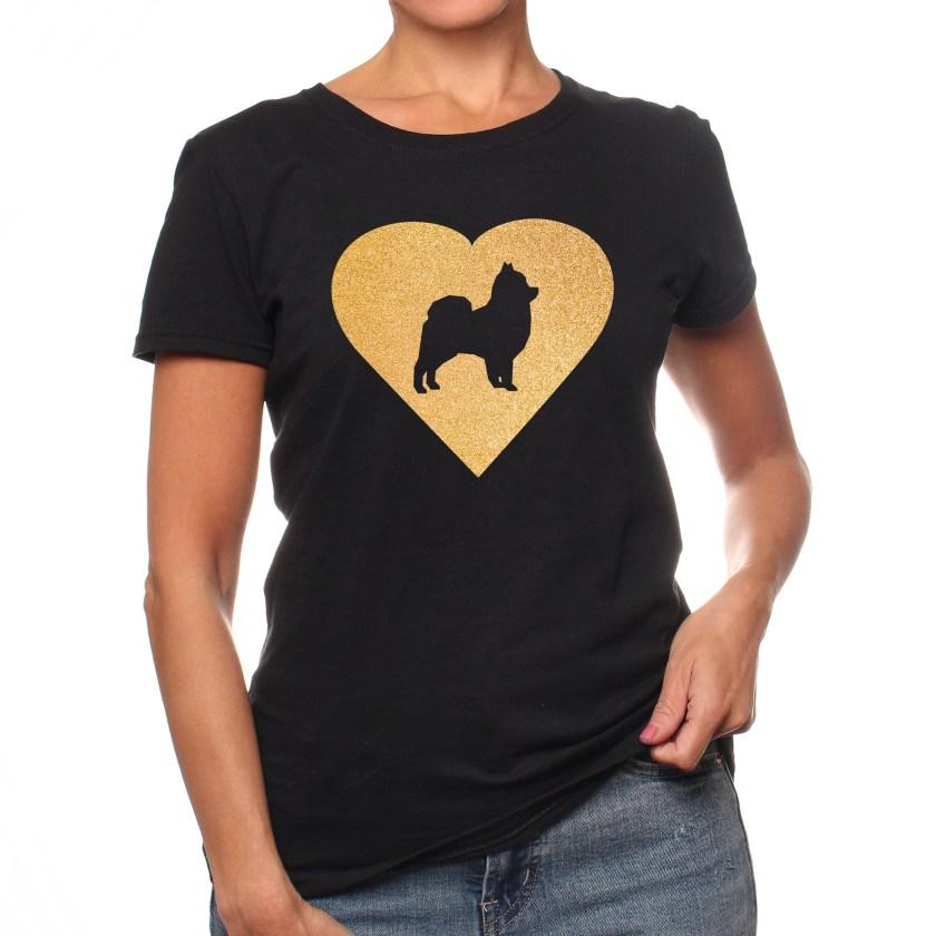 Pomeranian Gold Glitter Heart Women's Short Sleeve T-Shirt