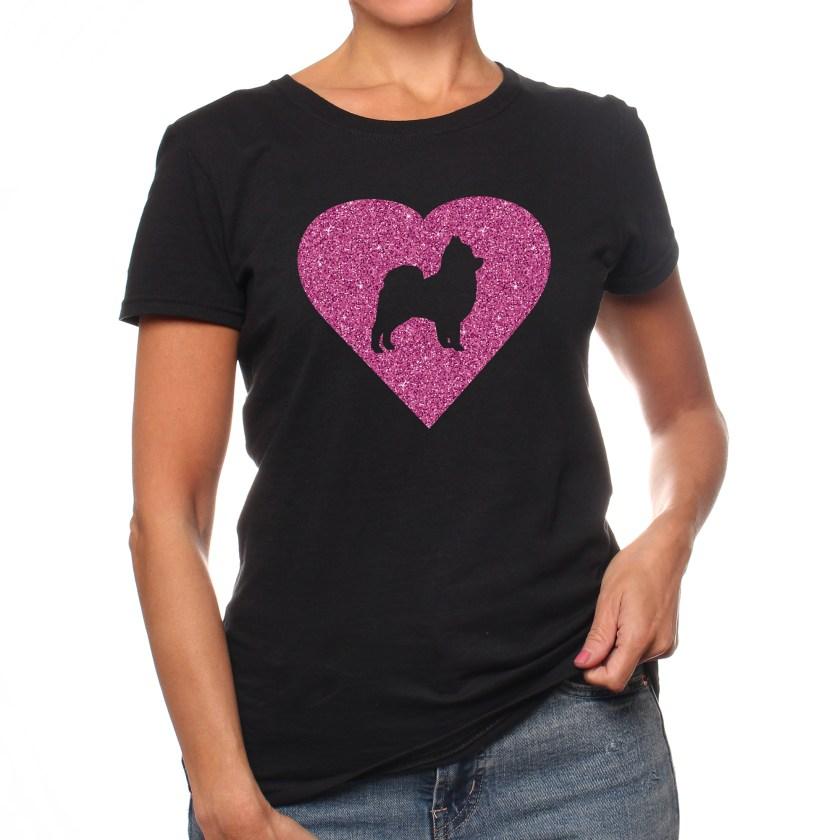 Pomeranian Pink Glitter Heart Women's Short Sleeve T-Shirt