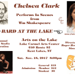 Chelsea Clark performsin scenes from Wm. Shakespeare in the Simon Studio's annual celebration of Bard at the Lke, Saturday, November 18, 2017 at 8:00 p.m.