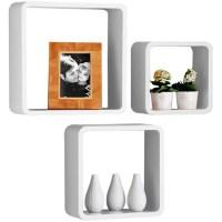 Set Of 3 Retro WHITE Square Floating Cube Wall Storage ...
