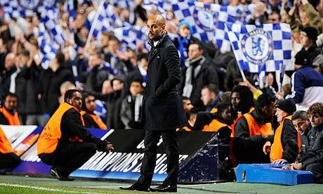 Pep Guardiola at Stamford Bridge during Chelsea's 1-0 win against Barcelona