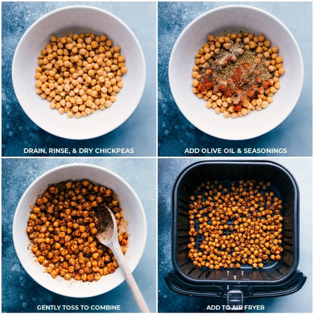 Process shots-- images of the chickpeas being tossed with seasonings and added to the air fryer