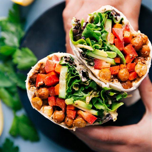 Up close overhead image of the hummus wraps