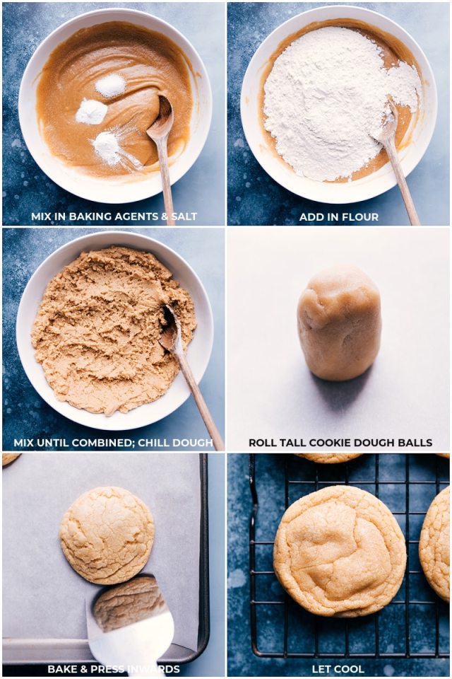 Process shots-- images of the dry ingredients being added to the wet and mixed together and rolled out and baked