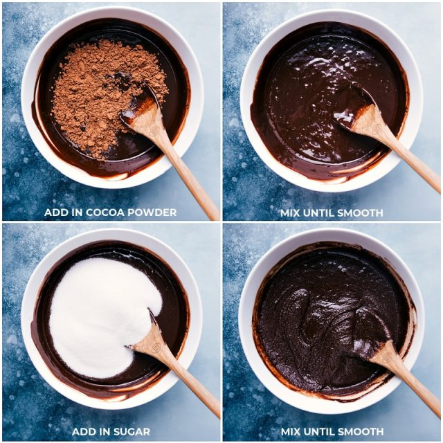 Process shots: adding cocoa and sugar to the brownie batter for this brownie recipe