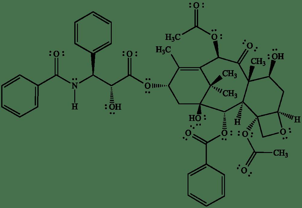 medium resolution of bond line structural representation of taxol paclitaxel an anticancer drug