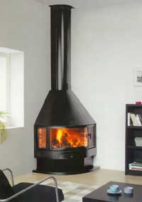 Fireplace corner or angle with open fireplace stove or fireplace