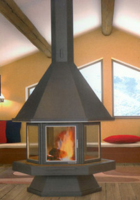 Fireplace place at the center of a room or fireplace axial