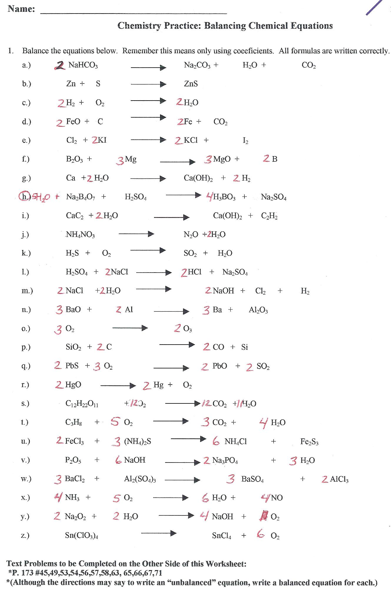 hight resolution of 30 111 Describing Chemical Reactions Worksheet Answers - Worksheet Resource  Plans