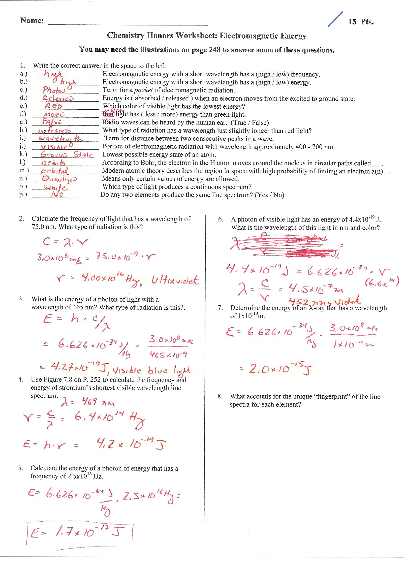 Introduction To Energy Worksheet Answer Key