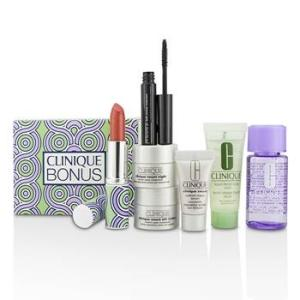 Clinique Bonus Travel Set: M/U Remover + Facial Soap + Repair Serum + 2x Moisturizer + Mascara + Lip Color 7pcs Skincare