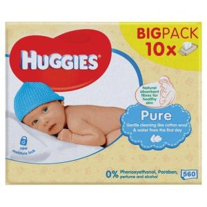 Huggies Pure Wipes 10×56 Refill Packs. Bulk Carton