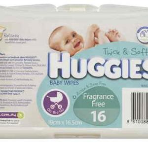 Huggies Baby Wipes Travel Pack Fragrance Free X 16