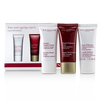 Clarins Super Restorative 50+ Anti-Ageing Skincare Set: Gentle Refiner 30ml+Super Restorative Day Cream 30ml+Beauty Flash Balm 30ml 3pcs Skincare