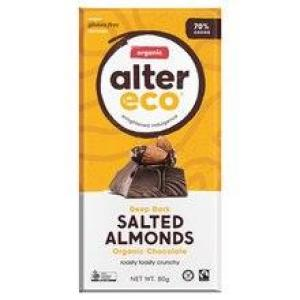 Alter Eco Chocolate Chocolate Salted Almonds 80gm