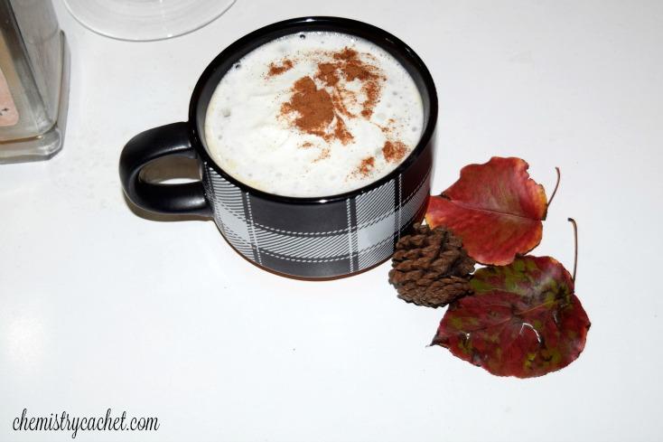 Creamy, delicious cinnamon pumpkin steamer on chemistrycachet.com