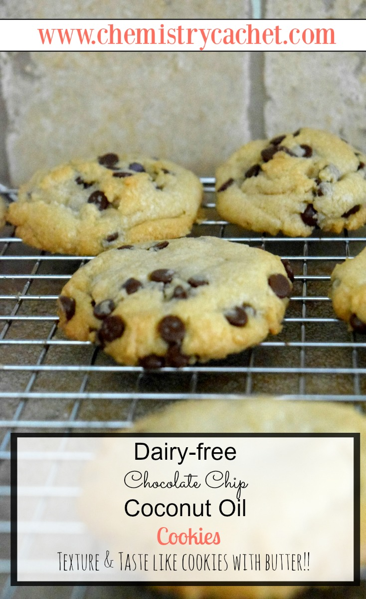 Dairy-free Chocolate Chip Coconut Oil Cookies. The texture and taste are just like they have butter in them too. chemistrycachet.com