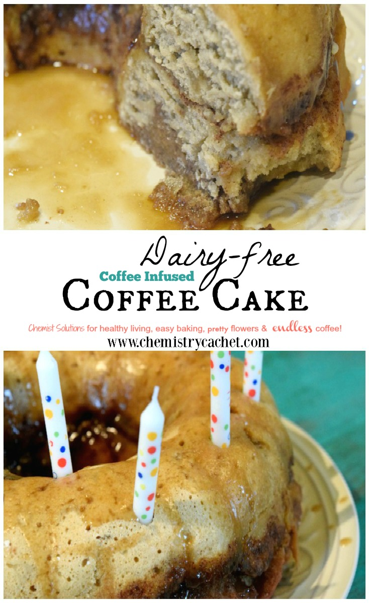 Dairy-free coffee cake infused with actual coffee flavor! Gluten-free option too! Perfect in a bundt pan, but works with anything else! Special enough to celebrate with on chemistrycachet.com