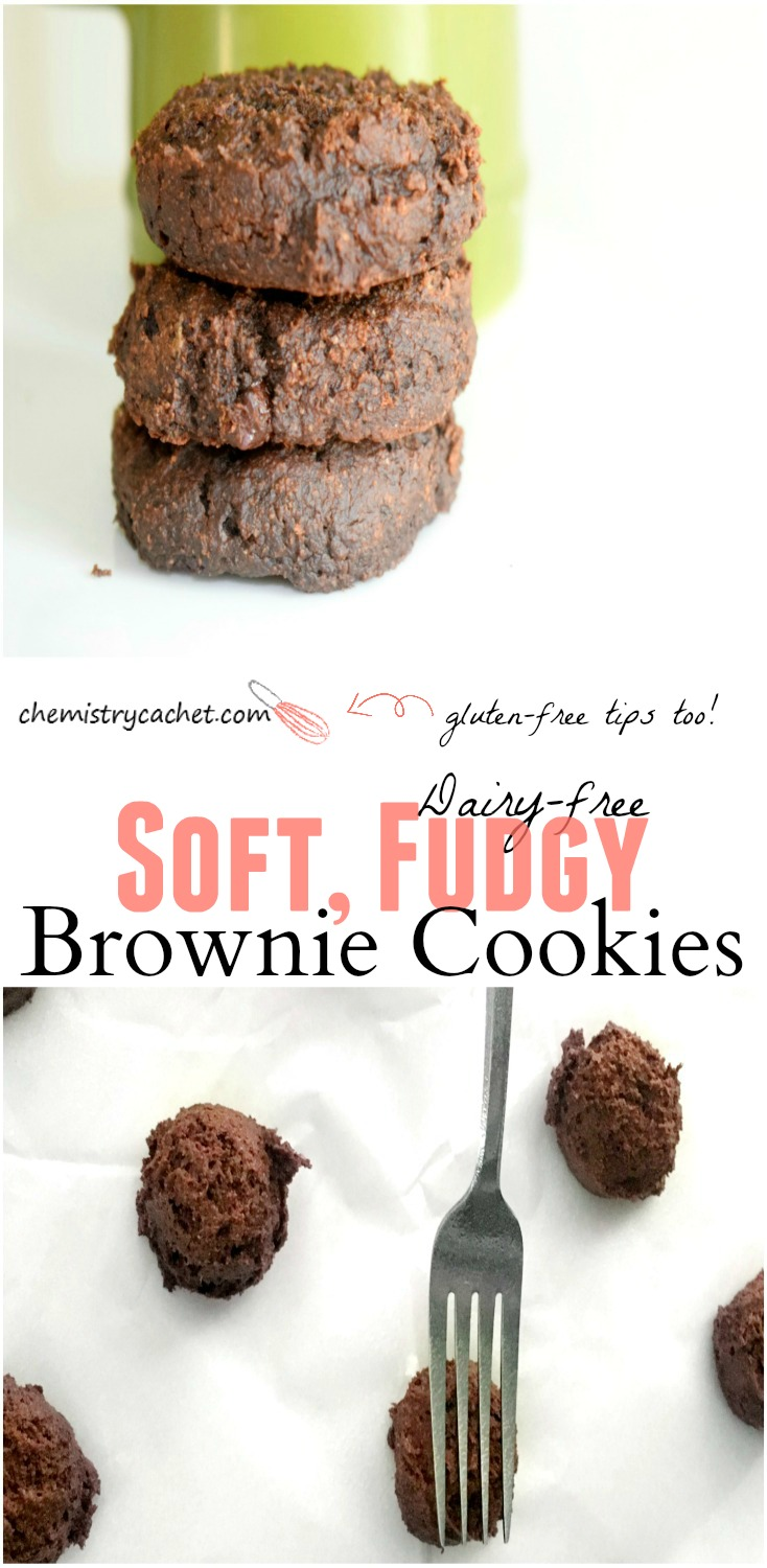 Soft, fudgy brownie cookies that are totally dairy-free and even good for you! Stop by for some gluten-free options too! on chemistrycachet.com