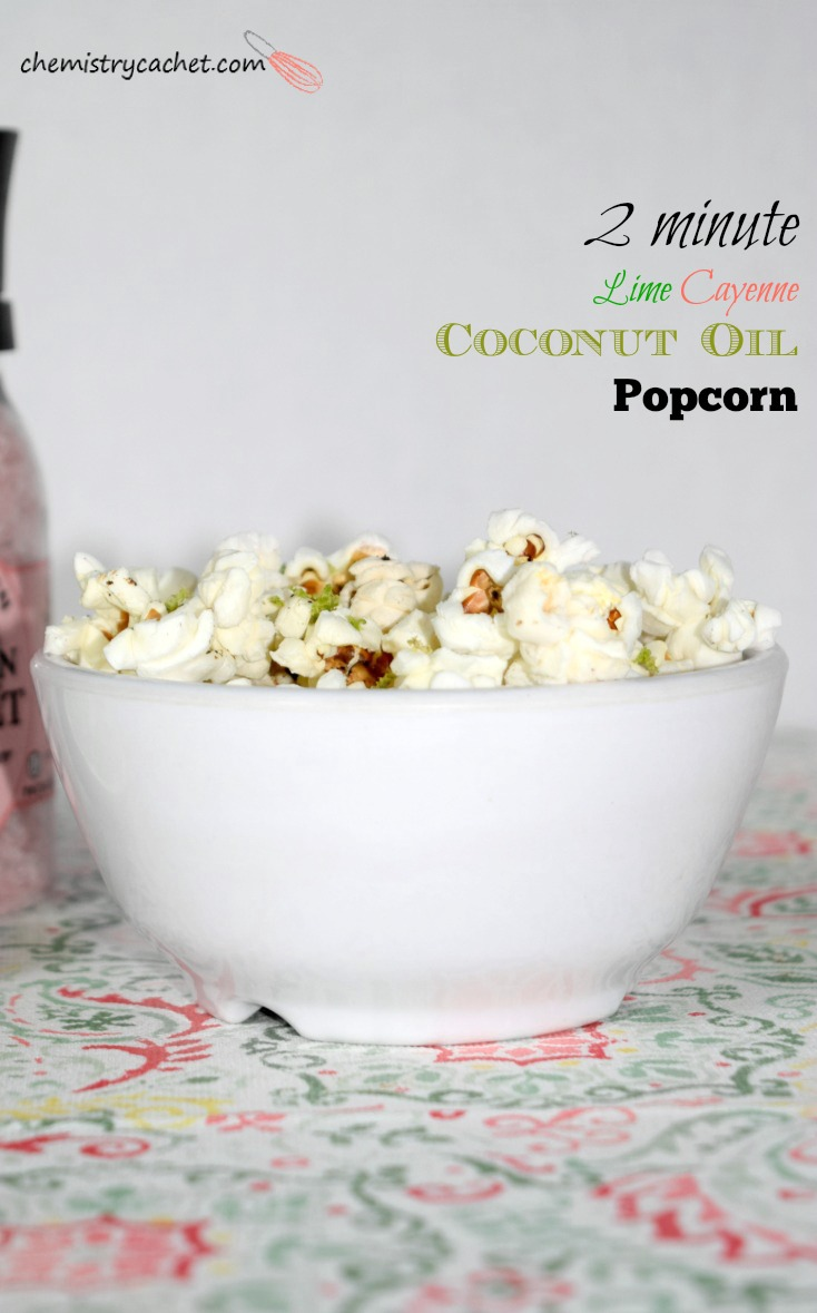 2 Minute Cayenne Lime Popcorn! Pop this in the microwave and in less than a few minutes, you have the most delicious healthy snack! on chemistrycachet.com