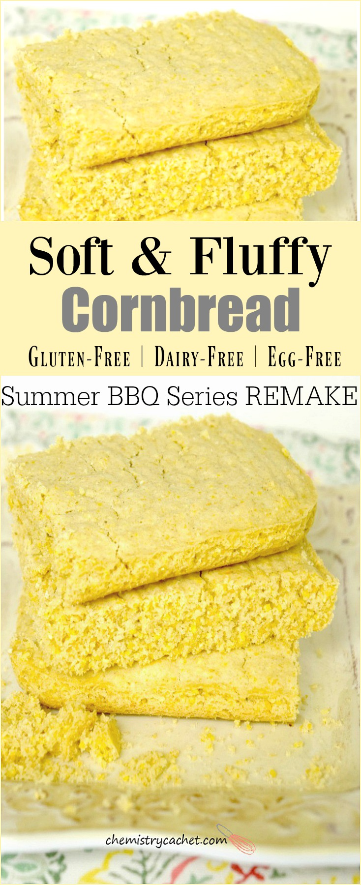 Dairy-Free Gluten-Free Cornbread recipe that is perfectly soft and fluffy! Bonus, it's also egg-free! And it is the perfect substitution for a summer bbq for anyone with food allergies! See more fun details on chemistrycachet.com