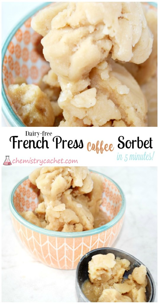 Dairy-free french press coffee sorbet in 5 minutes! on chemistrycachet.com