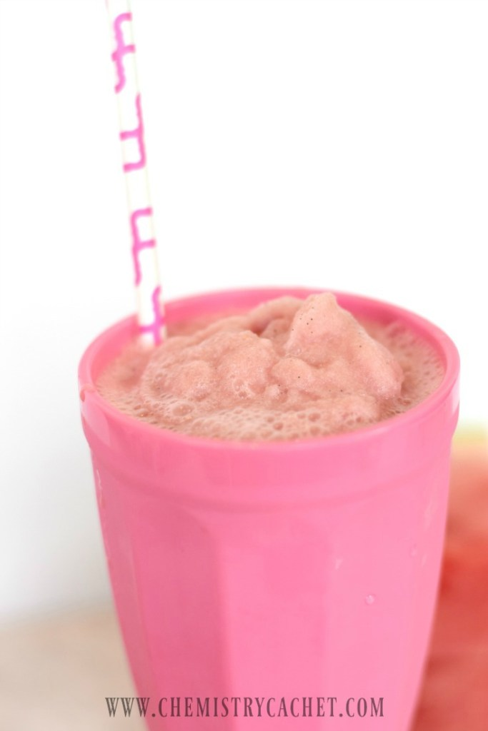 Dairy-free Watermelon Milkshake Recipe. This only has a handful of ingredients and is the BEST summer drink you will EVER have!!! Full recipe on chemistrycachet.com