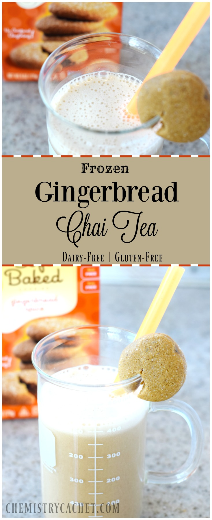 Frozen Gingerbread Chai Tea Recipe. Gluten-free AND dairy-free for everyone to enjoy! on chemistrycachet.com