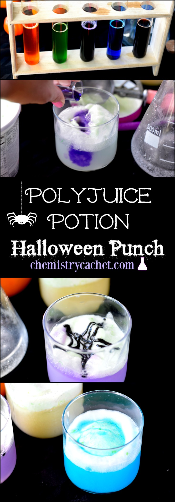 Super Easy Polyjuice Potion Halloween Punch. A fun potion recipe on chemistrycachet.com