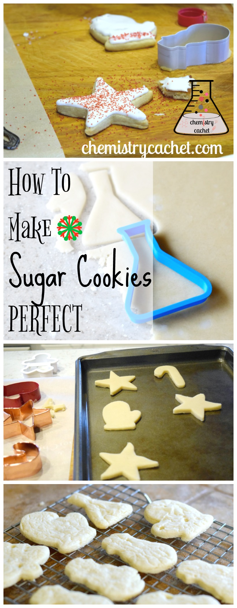 How to Make Sugar Cookies Turn out PERFECT everytime. Sugar cookie baking tips so they don't spread and always look great on chemistrycachet.com