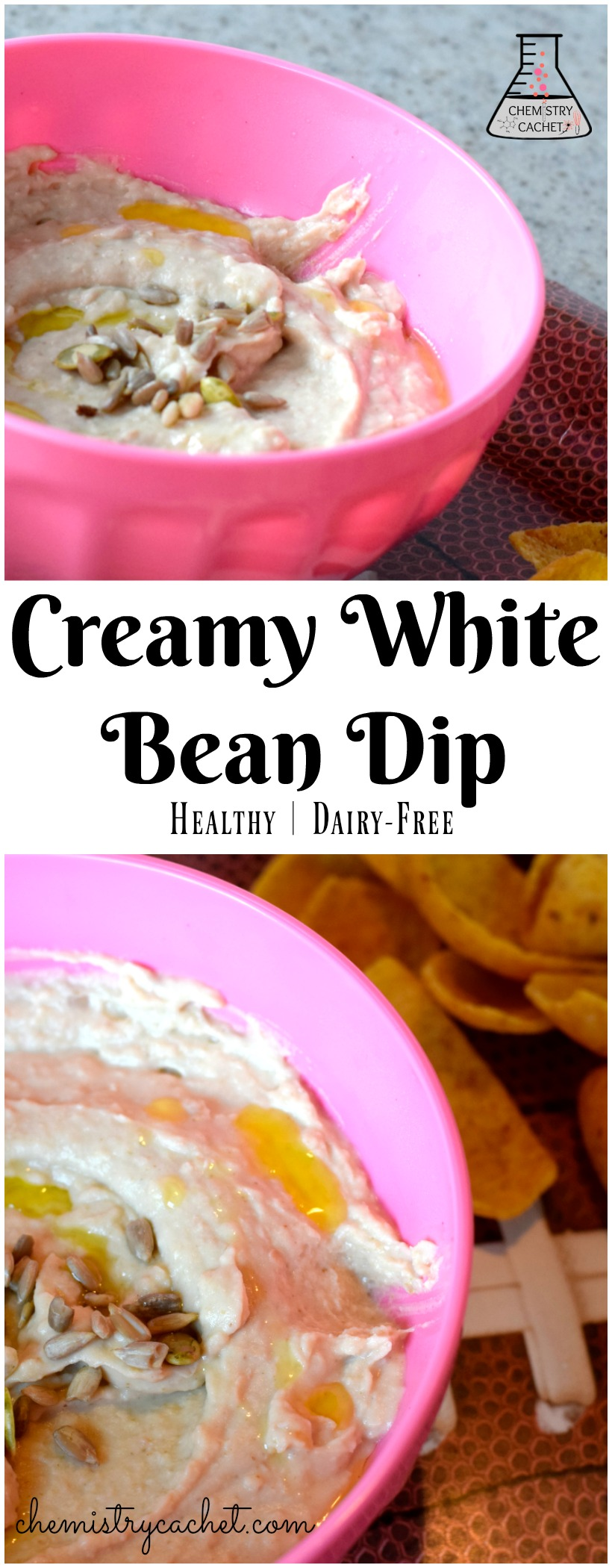 Super creamy healthy white bean dip. Perfect for parties! White bean dip recipe on chemistrycachet.com