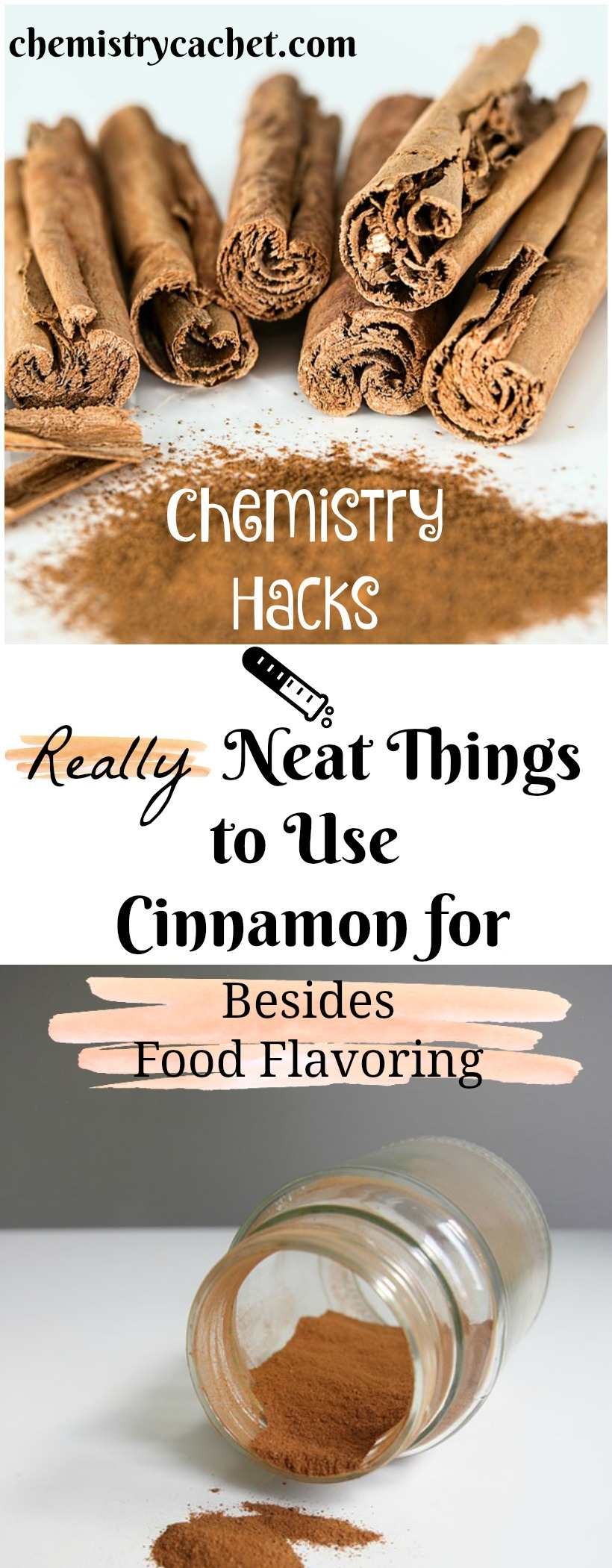 Chemistry Hacks presents REALLY neat things to use cinnamon for...besides flavoring food. Using cinnamon in the garden and more on chemistrycachet.com