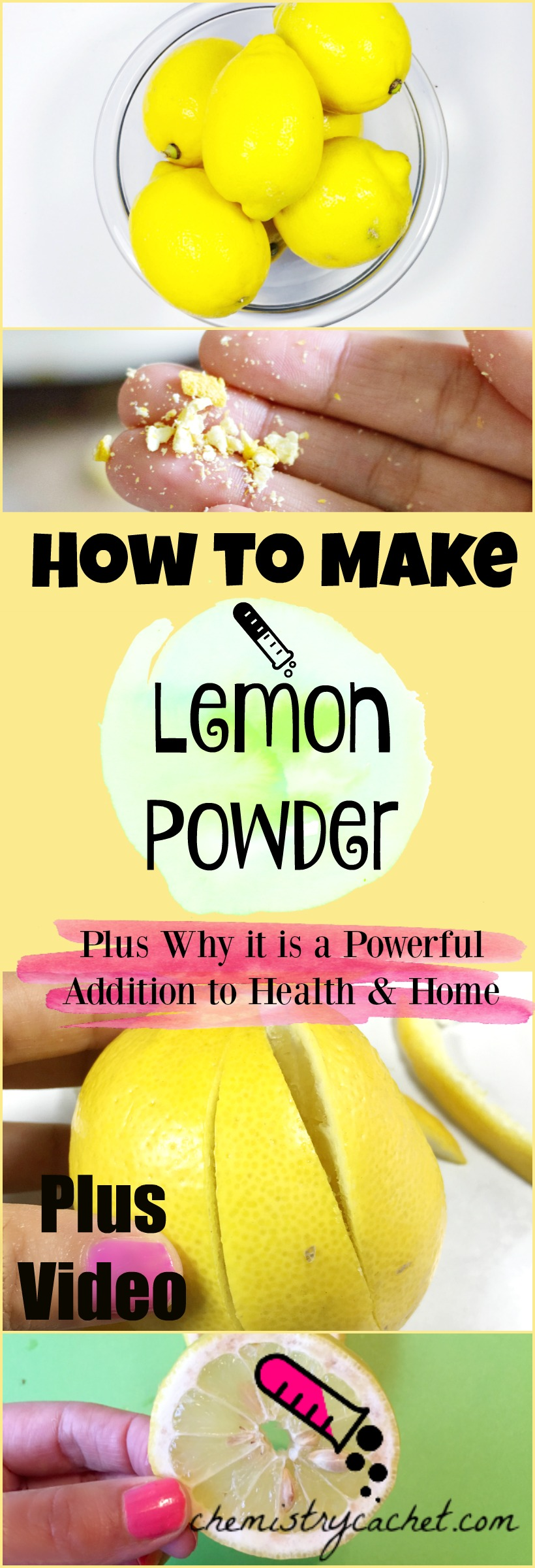 How to Make Lemon Powder. Plus why it's a POWERFUL addition to your health and home. Lemon powder video included and tutorial on chemistrycachet.com