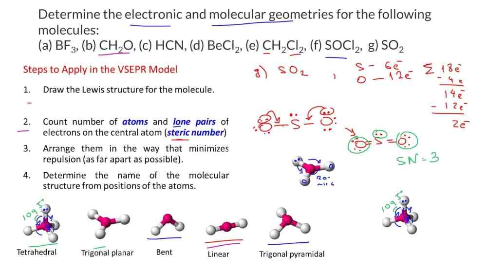 medium resolution of draw the lewis structures and determine the electronic and molecular geometries for the following molecules a bf3 b ch2o c hcn d becl2