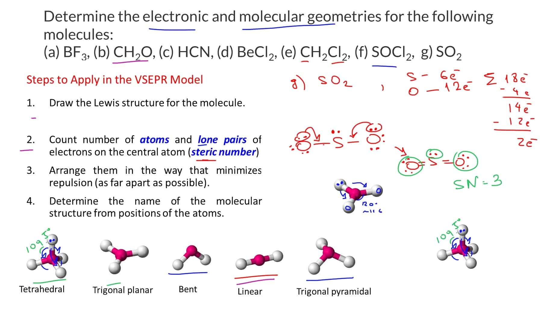 hight resolution of draw the lewis structures and determine the electronic and molecular geometries for the following molecules a bf3 b ch2o c hcn d becl2
