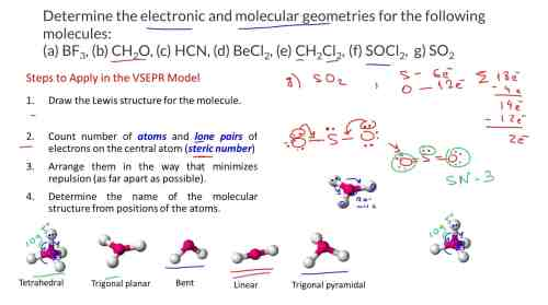 small resolution of draw the lewis structures and determine the electronic and molecular geometries for the following molecules a bf3 b ch2o c hcn d becl2