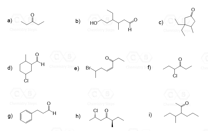 Naming Aldehydes and Ketones with Practice Problems
