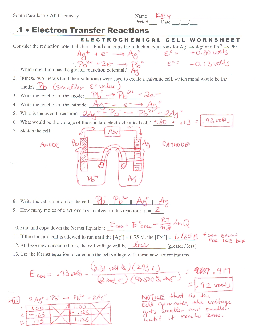 Electrochemical Cell Worksheet Word