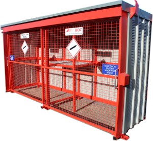An Image depicting a 36 Cylinder Store manufactured and finished in site specific branded colour for our key client BOC Gases - part of the Linde Group