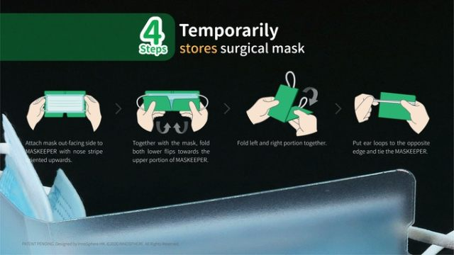 Mask Keeper temporary storage for face masks surgical